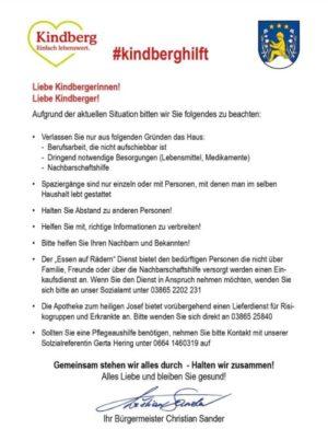 17.03.2020: Kindberg hilft!